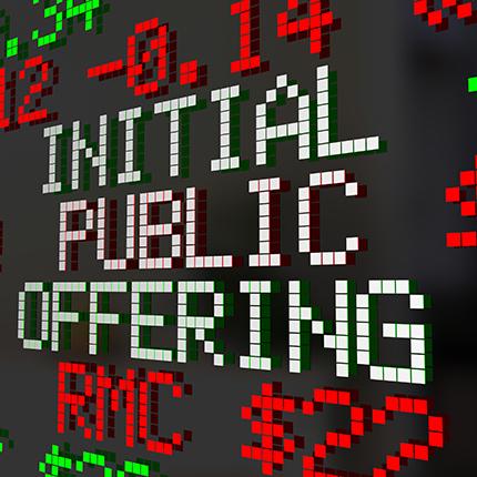 Initial Public Offering digital sign